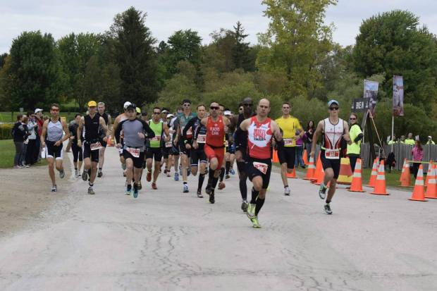 The start of the 2014 Ontario Duathlon Championships at the Lakeside Resort.